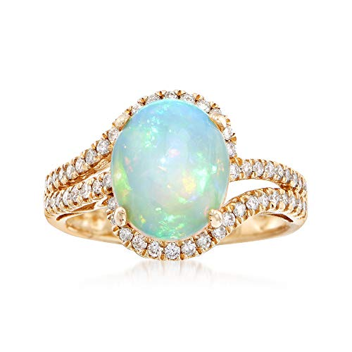 (Ross-Simons Opal and .42 ct. t.w. Diamond Ring in 14kt Yellow Gold)