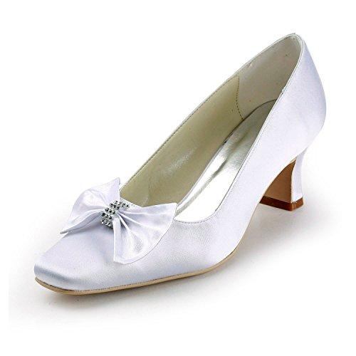 Knot Shoes 5cm Satin Evening Women's Bridal Formal Minishion Heel White 6 TMZ336 Pumps Wedding Party qvwEA