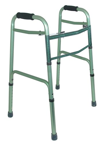 Duro-Med 2-Button Adjustable Aluminum Folding Walker, Green by Duro-Med