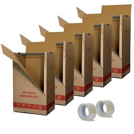 Kit de 5 cajas de cartón porta vestidos para colgar ...
