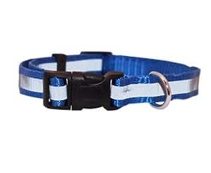 "T-Pet Reflective Adjustable Dog Nylon Collar. Fits 11""-17"" Neck Size Blue"
