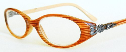 Dr. Dean Edell / Aventura Tan & Brown Design Reading Glasses with Metal & Rhinestone Temples -D47 (+1.50) (Glasses Rhinestone Brown Reading)