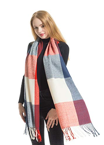 (Women's Fashion Plaid Check Scarves by Elzama - Long, Soft, Warm Pashmina Shawl Wrap Scarf)