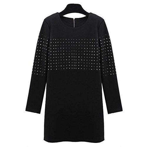 Mujer Negro Mini Vestir Señoras Moda Largo Mangas Chapado Vestidos 80Store Negro