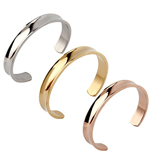 Grooved Stainless Steel Cuff Bracelet Bangle for Women (3 colors one set) (Plain Slides compare prices)