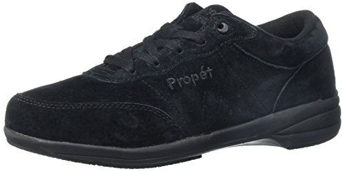 (Propet Women's Washable Walker Walking Shoe, SR Black Suede, 10 W US)