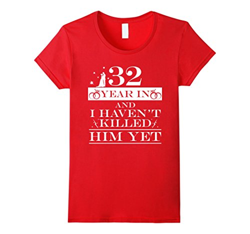 Womens 32nd Wedding Anniversary Gifts For Wife. Couple T shirts XL Red
