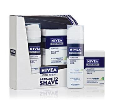 Nivea For Men Sensitive Shave Kit (Shaving Gel 200ml + Post Shave Balm 100ml)