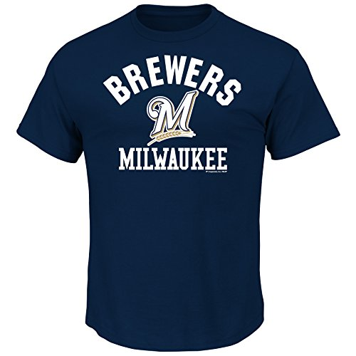 (VF LSG MLB Milwaukee Brewers Men's Fearsome History Tee, Navy, Small)