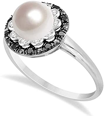 Anillo de perlas de agua dulce con diamantes blancos y negros 14K W. Oro 0.14cw, anillo de compromiso de oro para siempre, anillo de bodas, anillo de oro de la promesa