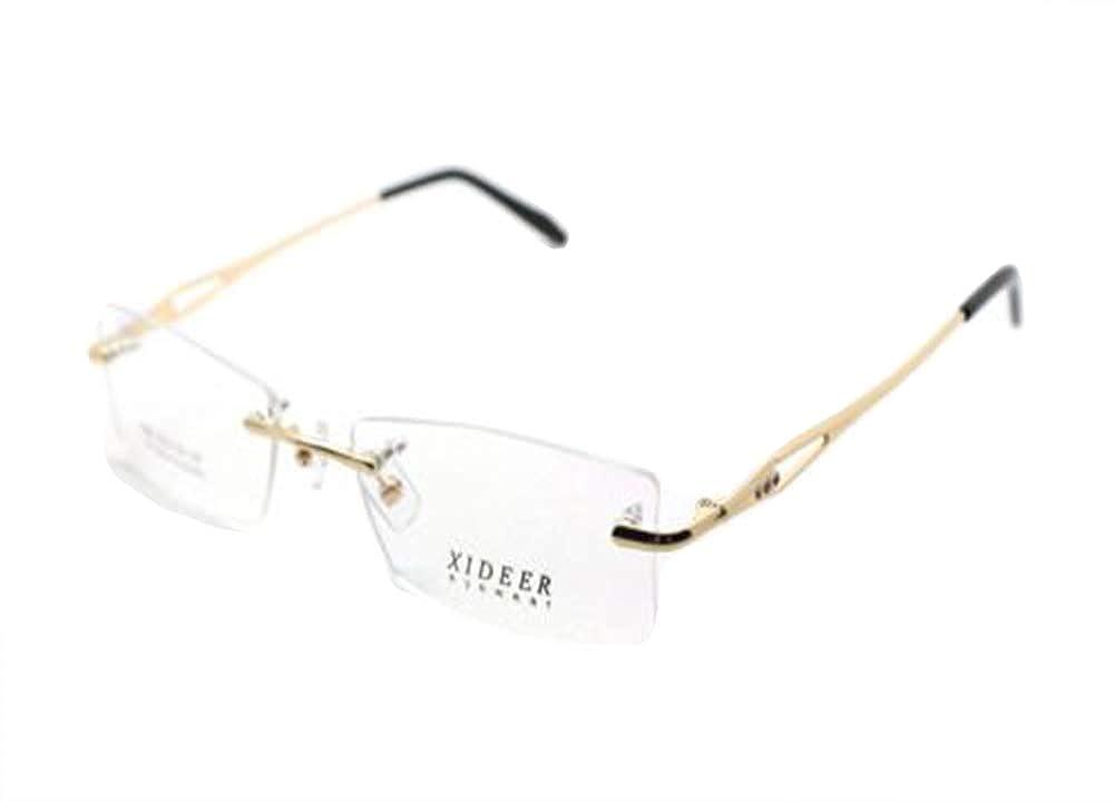 Gold Mens Womens Metal Rimless Optical Eyeglasses Eyewear Glasse Frames RX Able