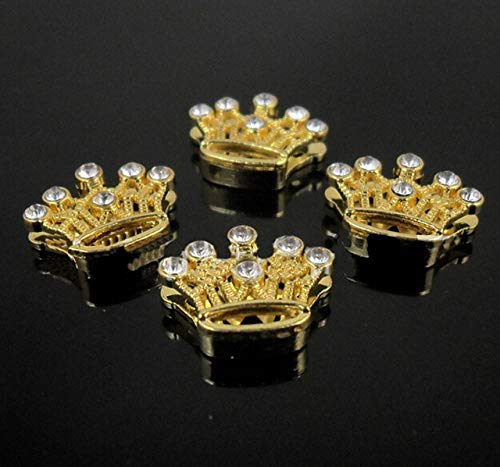 Crown Slide Charm - Laliva, 10PCS 8MM Gold Plated Mixed Style Flowers Slide Charms Letters Fit 8mm Belts Bracelets Pet Collars - (Color: Crown)