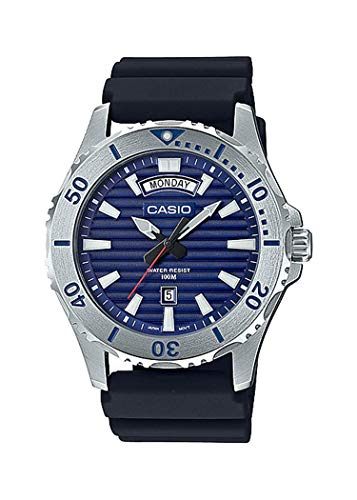 100m Dive Watch (Casio MTD1087-2AV Men's Resin Band Day Date Blue Dial 100M Sports Dive Watch)