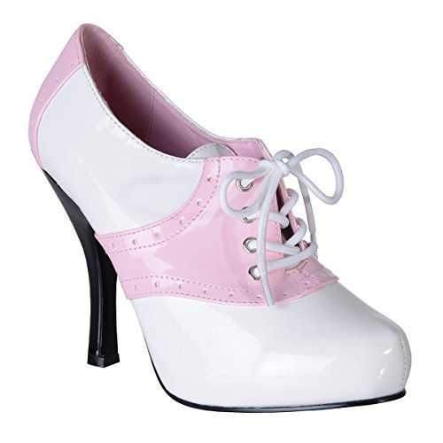 [Womens Saddle Shoes White Pink Two Tone Pumps Lace Up Costume 4 1/2 Inch Heels Size: 8] (Danny Sandy Grease Costumes)