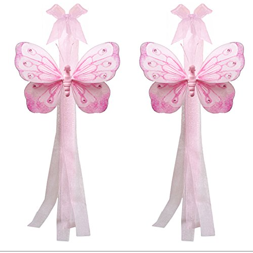 Tie Curtain Butterfly Back - Butterfly Curtain Tiebacks Pink Shimmer Nylon Butterflies Pair Set Decorations Window Treatment Holdback Sheer Drapes Holder Drapery Tie Back Baby Nursery Bedroom Girl Room Kid Decor Home Bathroom DIY