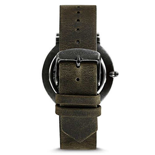 New Original Grain Wood Wrist Watch | Minimalist Collection 40MM Analog Watch | Black Leather Watch Band | Japanese Quartz Movement | Koa Wood