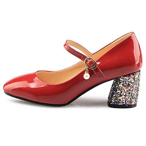 Women RAZAMAZA Red Block Heel Pumps dFFHSP