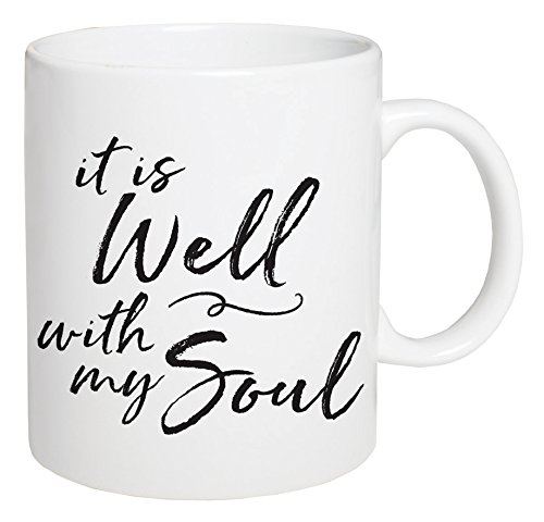 (P. GRAHAM DUNN It is Well with My Soul Script White 5.5 x 4.5 Ceramic 15 Ounce Coffee Mug )