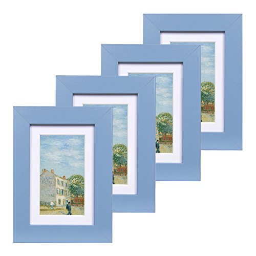 - 4x6 Wood Picture Frame - Flat Profile - Set of 4 - for Picture 3x5 with Mat or 4x6 Without Mat (Blue)