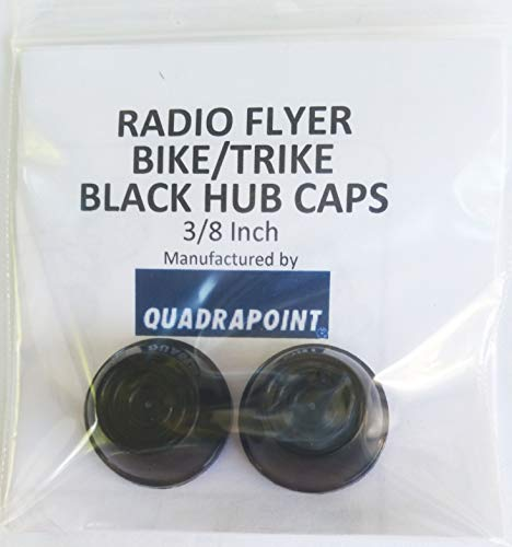 Quadrapoint Hub Caps for Radio Flyer Bike/TRIKES - fits 3/8 Axle Diameter (Black)