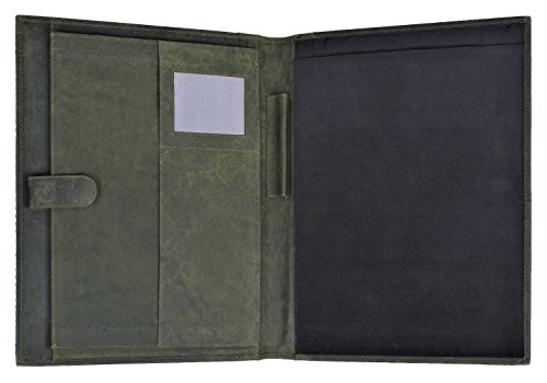 Padfolio Green (Handmade Genuine Leather Business Portfolio by Rustic Town | Professional Organizer Men & Women | Durable Leather Padfolio with Sleeves for documents and Notepad (Moss Green))