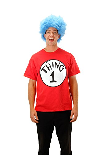 Elope Dr.Suess' Thing 1 Short Sleeve T-Shirt with Wig Kit - Extra Large (Thing 1 And 2 Costumes)
