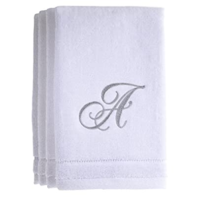Monogrammed Towels Fingertip, Personalized Gift, 11 x 18 Inches - Set of 4- Silver Embroidered Towel - Extra Absorbent 100% Cotton- Soft Velour Finish - For Bathroom/ Kitchen/ Spa