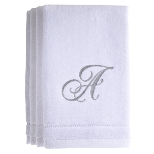 4 Freestanding Lace Machine Embroidery (Monogrammed Towels Fingertip, Personalized Gift, 11 x 18 Inches - Set of 4- Silver Embroidered Towel - Extra Absorbent 100% Cotton- Soft Velour Finish - For Bathroom/ Kitchen/ Spa- Initial A (White))