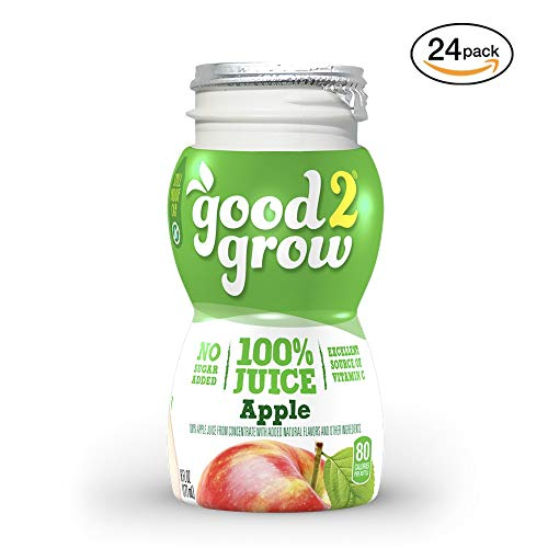 good2grow Apple Juice Bottles, 6-Ounce Good2grow Refills, 24 Pack - No Sugar Added, 100% Juice, Non-GMO, BPA-Free, Good Vitamin C Source - Use with Spill-Proof Good2grow Toppers