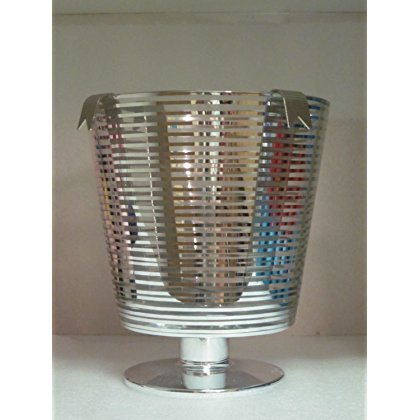 Bath and Body Works Silver Stripe Luminary 3-Wick Candle Holder 2014 Wine Ice Bucket ()