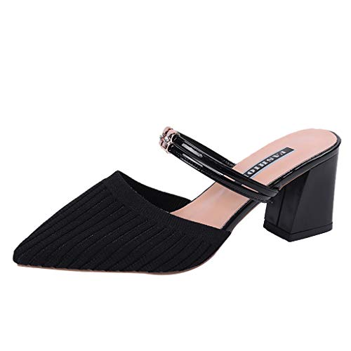 〓COOlCCI〓Women's Sexy D'Orsay Ankle Strap Pointed Toe Block Heel Pump - Classic, Low Block Heel Dress Sandals Shoes Black