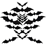 PVTMAID 3D Bats Decoration Sticker, 36 PCS 4 Sizes DIY Halloween Party Supplies for Home Bathroom Window Clings…
