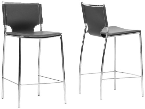 - Baxton Studio Montclare Leather Modern Counter Stool, Black, Set of 2