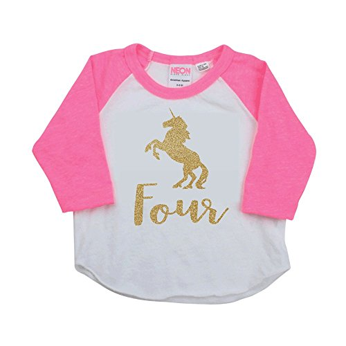 4 Year Old Birthday Shirt, Unicorn Fourth Birthday Outfit by Bump and Beyond Designs