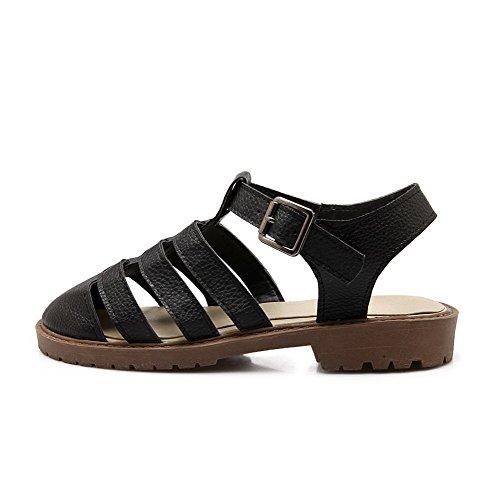 AllhqFashion Puntera Cerrada Hebilla Sólido Mini Tacón Sandalias de vestir Negro