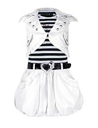 Girls Belted Sleeveless Dress & Jacket Puffy Skirt Diamante Apple Design