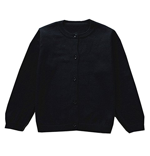 Wash Cotton Sweater - GSVIBK Girls Cardigan Long Sleeve Crewneck Cardigans Solid Knit Button Sweater Cardigan Baby Girl 12-18M Black 6112