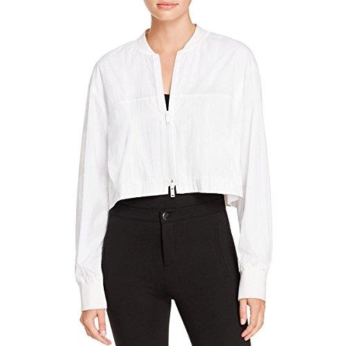 Dkny Puffer Jacket - DKNY Womens Cropped Zipper Closure Bomber Jacket White M