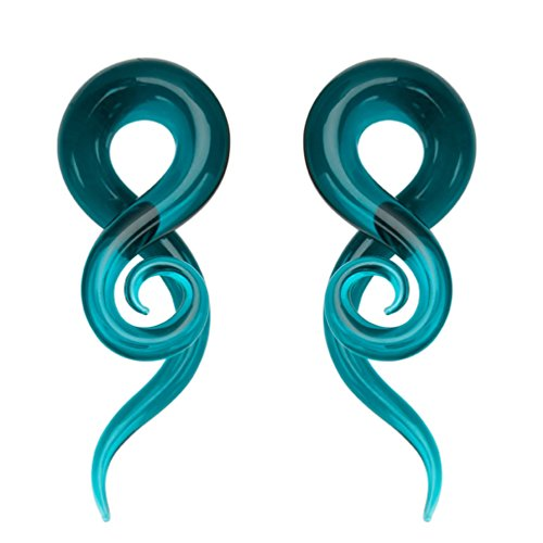 00 Gauge Teal Teardrop Glass Spiral Taper (10mm) - 2 Pieces (2 Gauge Earrings)