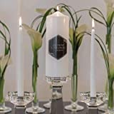 JM Weddings Black and Gold Opulence Unity Candle White (Pack of 1) Ivory