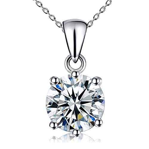Kigmay Jewelry 925 Sterling Silver Round Cut Clear Cubic Zirconia CZ Solitaire Pendant Necklace for Women, 16