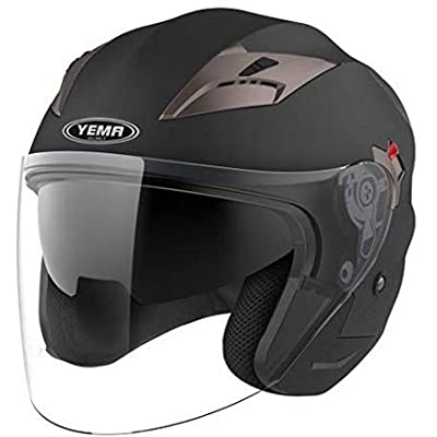 Motorcycle Open Face Helmet DOT Approved - YEMA YM-627 Motorbike Moped Jet Bobber Pilot Crash Chopper 3/4 Half Helmet with Sun Visor for Adult Men Women - Matte Black,Small: Automotive
