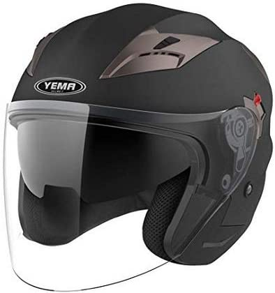 Motorcycle Open Face Helmet DOT Approved - YEMA YM-627 Motorbike Moped Jet Bobber Pilot Crash Chopper 3/4 Half Helmet with Sun Visor for Adult Men Women - Matte Black