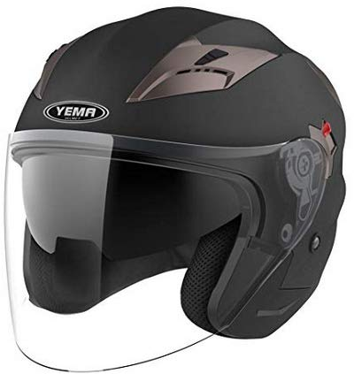 Motorcycle Open Face Helmet DOT Approved - YEMA YM-627 Motorbike Moped Jet Bobber Pilot Crash Chopper 3/4 Half Helmet with Sun Visor for Adult Men Women - Matte Black,Medium