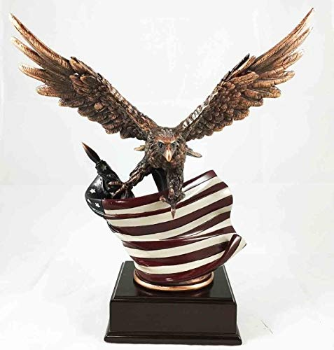 Figurine Wings of Glory with American Flag Bronze Electroplated with Base 12.5