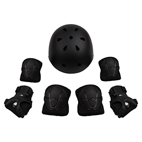 Amazon.com : CHICTRY Set of 7 Kids Adjustable Multi-Sport Safety Helmet With Knee Pads Elbow Wrist Protection Gear for Skateboard Cycling Scooter Black One ...