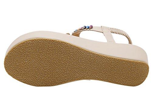 Agowoo Jeweled Rem Rem Kil Plattform Sandaler För Kvinnor Aprikos