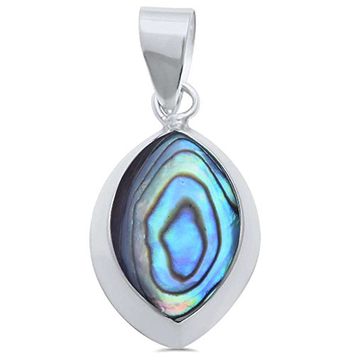Marquise Simulated Diamond Sterling Pendant (Simulated Abalone Marquise .925 Sterling Silver Pendant)