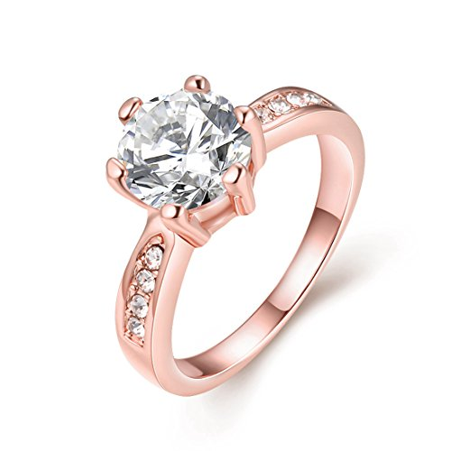 [Women's Pretty 18K Gold Plated CZ Crystal Solitaire Wedding Engagement Rings Best Promise Rings for Her Anniversary TIVANI Collection Jewelry] (Costume Jewelry Diamond Rings)