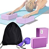 Inconly Yoga Block and Strap Set 3PCS High Density EVA Foam Yoga Block to Support & Deepen Poses Lightweight, Odor Resistant and Moisture-Proof